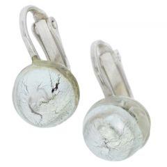 Murano Glass Cabochon Clip Earrings - Silver White