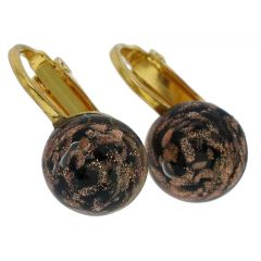 Murano Sparkles Cabochon Clip Earrings - Black