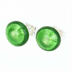Murano Button Stud Earrings - Emerald Green