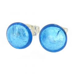 Murano Button Stud Earrings - Aqua Blue