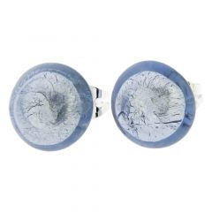 Murano Button Stud Earrings - Silver Ice