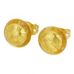 Murano Button Stud Earrings - Sunshine Gold