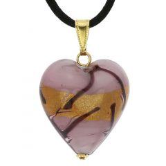 Murano Heart Pendant - Lavender Gold