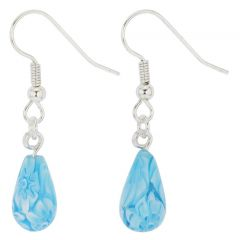Murano Mosaic Small Millefiori Drop Earrings - Aqua
