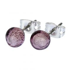 Murano Tiny Stud Earrings - Silver Purple