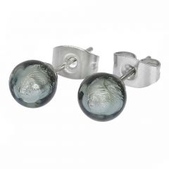Murano Tiny Stud Earrings - Silver Grey