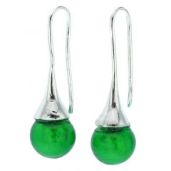 Murano Drop Earrings - Emerald Green