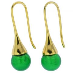 Murano Gold Drop Earrings - Emerald Green