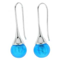 Murano Drop Earrings - Aqua Blue