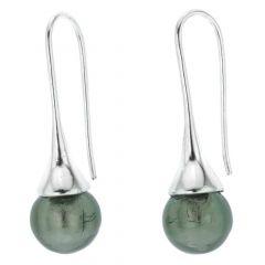 Murano Drop Earrings - Silver Grey