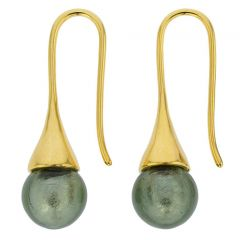 Murano Gold Drop Earrings - Silver Grey