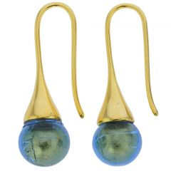 Murano Gold Drop Earrings - Royal Blue