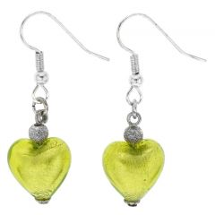 Murano Heart Earrings - Apple Green