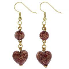Starlight Heart Dangle Earrings - Red