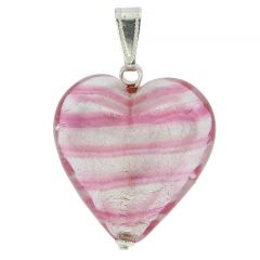 Murano Heart Pendant - Striped Silver Pink