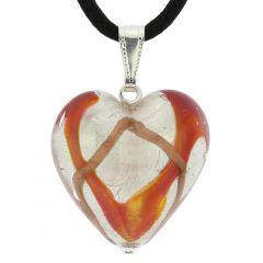 Murano Heart Pendant - Golden Brown Waves Silver