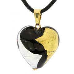 Murano Heart Pendant - Gold and Silver