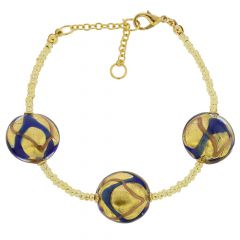 Royal Murano Bracelet - Blue Waves Gold