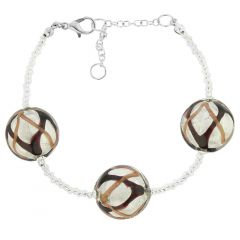 Royal Murano Bracelet - Black Waves Silver