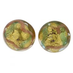 Murano Button Stud Earrings - Gold and Aqua