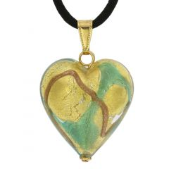 Murano Heart Pendant - Aqua Waves Gold