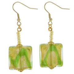 Royal Green Squares Earrings
