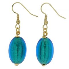 Murano Olives Earrings - Aqua