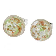 Murano Button Stud Earrings - Silver Green Confetti