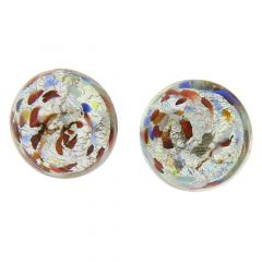 Murano Button Stud Earrings - Silver Multicolor Confetti