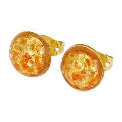 Murano Button Stud Earrings - Red Confetti