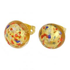 Murano Button Stud Earrings - Multicolor Confetti