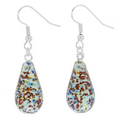Murano Teardrop Earrings - Silver Multicolor Confetti