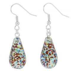 Murano Teardrop Earrings - Silver Multicolor Confetti