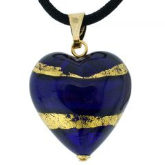 Murano Heart Pendant - Blue and Gold