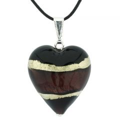 Murano Heart Pendant - Purple and Silver