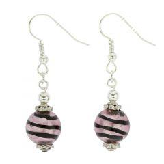 Antico Tesoro Balls Earrings - Striped Silver Amethyst
