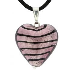 Murano Heart Pendant - Striped Silver Purple
