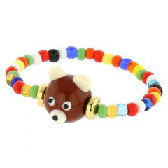 Murano Glass Brown Bear Children's Bracelet