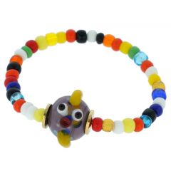 Murano Glass Charming Bull Children's Bracelet