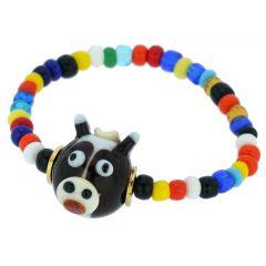 Murano Glass Wise Owl Children's Bracelet