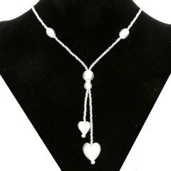 Murano Heart Tie Necklace - Silver White