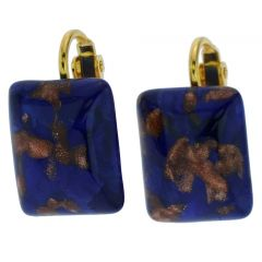 Murano Sparkles Rectangular Cabochon Clip Earrings - Navy Blue