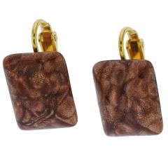 Murano Sparkles Rectangular Cabochon Clip Earrings - Topaz