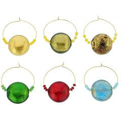 Murano Glass Ca D`Oro Disk Wine Glass Charms Set Of 6