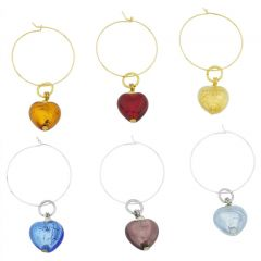 Murano Glass Heart Wine Glass Charms Set Of 6