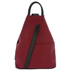 Fioretta Italian Genuine Leather Top Handle Backpack Purse Shoulder Bag Handbag Rucksack For Women - Red Black