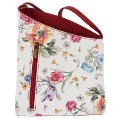 Fioretta Italian Embossed Genuine Leather Flower Pattern Crossbody Shoulder Bag Handbag For Women