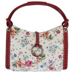 Fioretta Italian Genuine Leather Flower Pattern Zippered Top Tote Shoulder Bag Handbag For Women - Red
