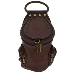 Fioretta Italian Genuine Leather Top Handle Backpack Handbag Shoulder Bag For Women - Brown