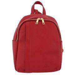 Fioretta Italian Genuine Leather Women Genuine Leather Backpack Purse Travel Bag For Women - Red
